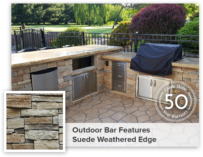 Outdoor Bar Featured Weathered Edge Suede